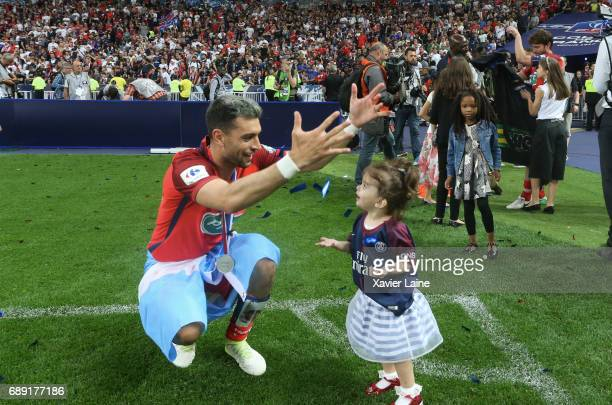 Javier pastore of Paris SaintGermain celebrate the victory with her daughter after the French Cup Final match between Paris SaintGermain and SCO...