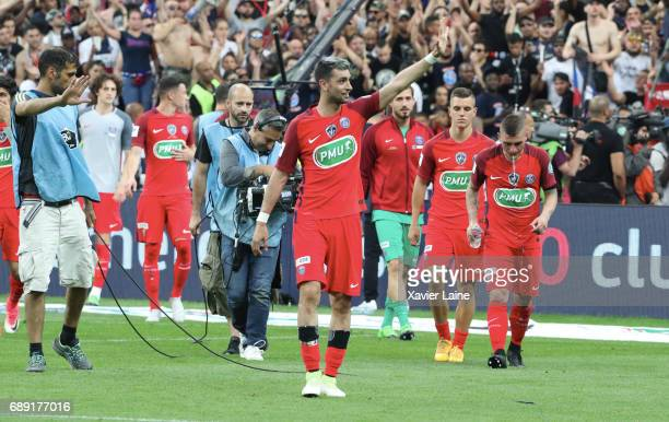 Javier pastore of Paris SaintGermain celebrate the victory with teammattes after the French Cup Final match between Paris SaintGermain and SCO Angers...