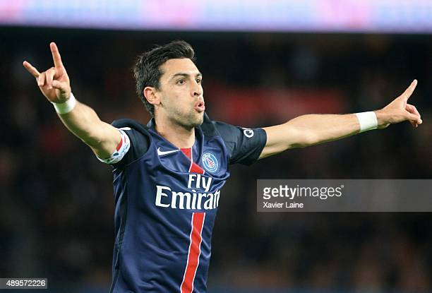 Javier Pastore of Paris SaintGermain celebrates his goal during the French Ligue 1 between Paris SaintGermain FC and EA Guingamp at Parc Des Princes...
