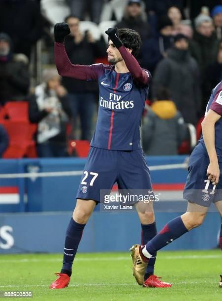 Javier Pastore of Paris SaintGermain celebrates his goal during the Ligue 1 match between Paris Saint Germain and Lille OSC at Parc des Princes on...