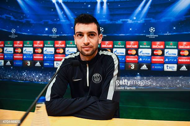 Javier Pastore of Paris SaintGermain FC faces the media during a press conference ahead of their UEFA Champions League quarterfinal second leg match...