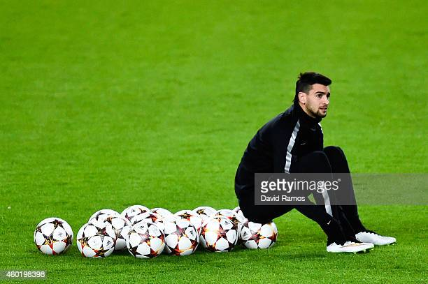 Javier Pastore of Paris SaintGermain FC looks on during training session ahead of their UEFA Champions League Group F match against FC Barcelona at...