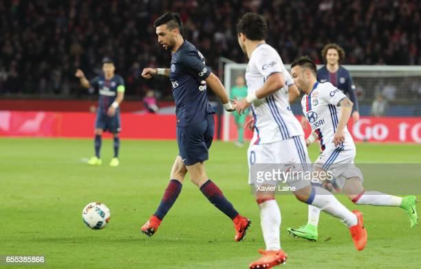 Javier Pastore of Paris SaintGermain in action during the French Ligue 1 match between Paris Saint Germain and Lyon OL at Parc des Princes on March...