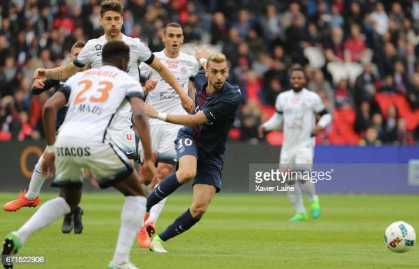 Javier Pastore of Paris SaintGermain in action during the French Ligue 1 match between Paris Saint Germain and Montpellier Herault SC at Parc des...