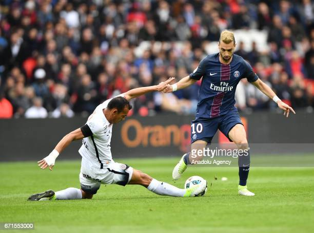 Javier Pastore of Paris SaintGermain in action during the French Ligue 1 football match between Paris SaintGermain and Montpellier HSC at the Parc...