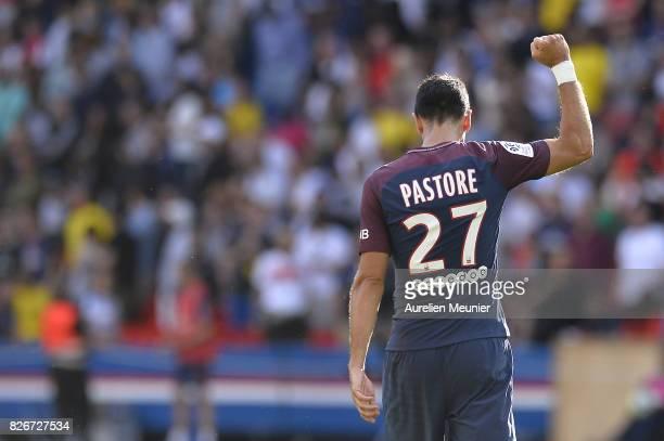 Javier Pastore of Paris SaintGermain reacts after scoring during the Ligue 1 match between Paris SaintGermain and Amiens at Parc des Princes on...