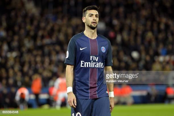 Javier Pastore of Paris SaintGermain reacts during the French Ligue 1 match between Paris Saint Germain and Lyon at Parc des Princes on March 19 2017...