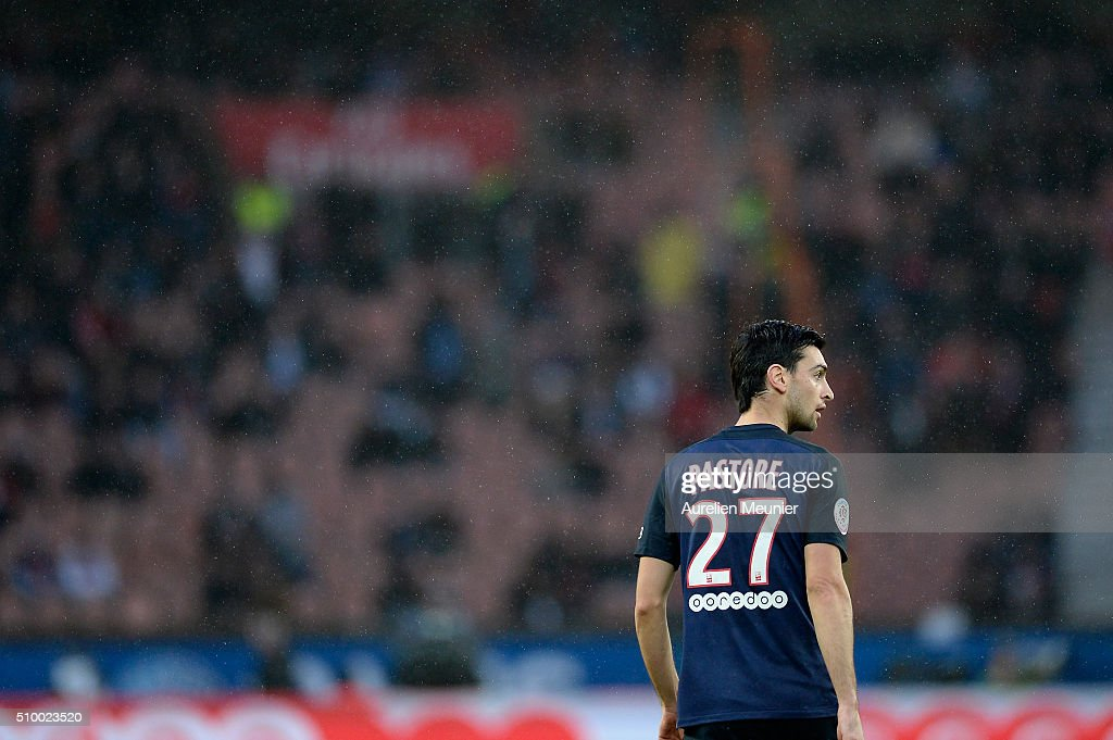<a gi-track='captionPersonalityLinkClicked' href=/galleries/search?phrase=Javier+Pastore&family=editorial&specificpeople=5857872 ng-click='$event.stopPropagation()'>Javier Pastore</a> of Paris Saint-Germain reacts during the Ligue 1 game between Paris Saint-Germain and Lille OSC at Parc des Princes on February 13, 2016 in Paris, France.