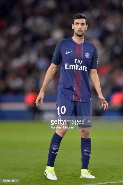 Javier Pastore of Paris SaintGermain reacts during the Ligue 1 match between EA Guingamp and Paris SaintGermain at Parc des Princes on April 9 2017...
