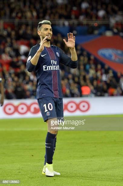 Javier Pastore of Paris SaintGermain reacts during the Ligue 1 match between Paris SaintGermain and SM Caen at Parc des Princes on May 20 2017 in...