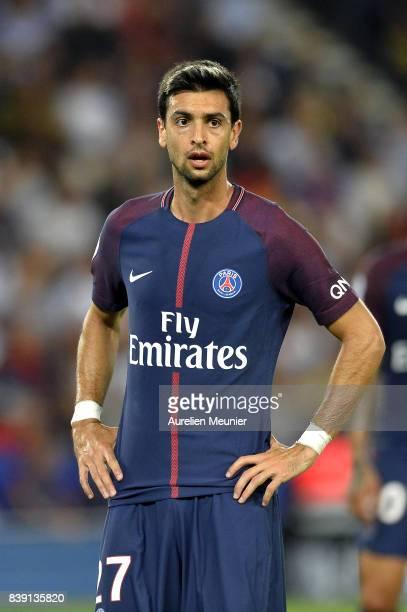 Javier Pastore of Paris SaintGermain reacts during the Ligue 1 match between Paris SaintGermain ans AS SaintEtienne at Parc des Princes on August 25...