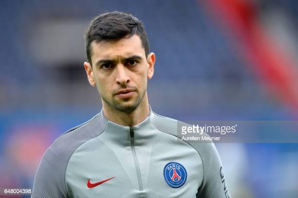 Javier Pastore of Paris SaintGermain reacts during warmup before the French Ligue 1 match between Paris Saint Germain and Nancy at Parc des Princes...