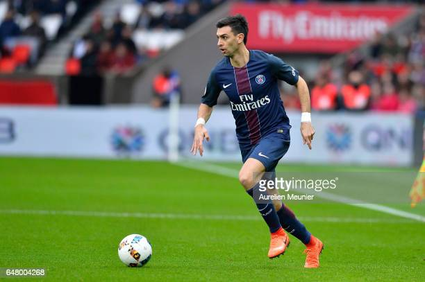 Javier Pastore of Paris SaintGermain runs with the ball during the French Ligue 1 match between Paris Saint Germain and Nancy at Parc des Princes on...