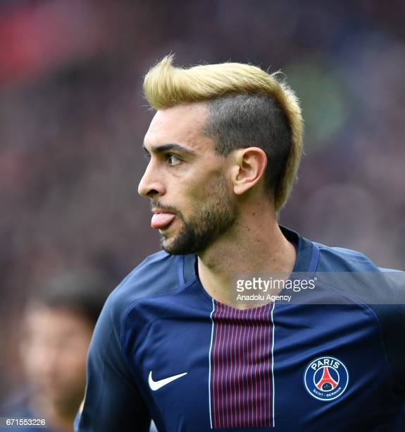 Javier Pastore of Paris SaintGermain seen during the French Ligue 1 football match between Paris SaintGermain and Montpellier HSC at the Parc des...