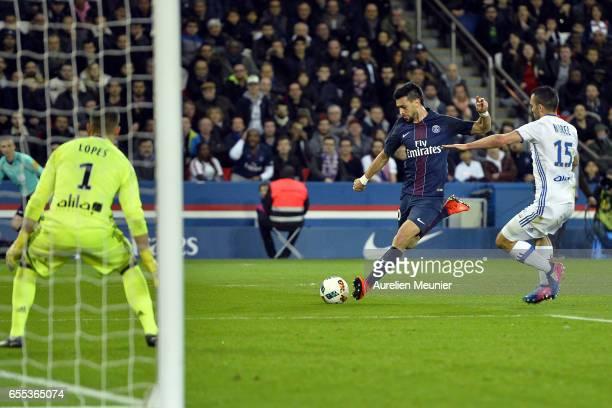 Javier Pastore of Paris SaintGermain shoots during the French Ligue 1 match between Paris Saint Germain and Lyon at Parc des Princes on March 19 2017...