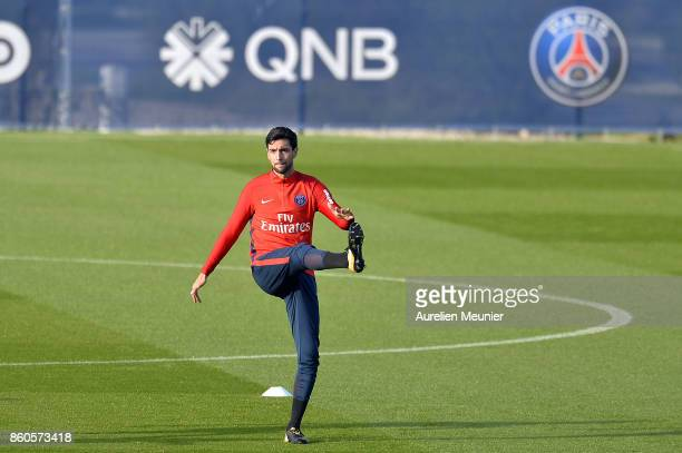 Javier Pastore of Paris SaintGermain warms up before a Paris SaintGermain training session at Centre Ooredoo on October 12 2017 in Paris France