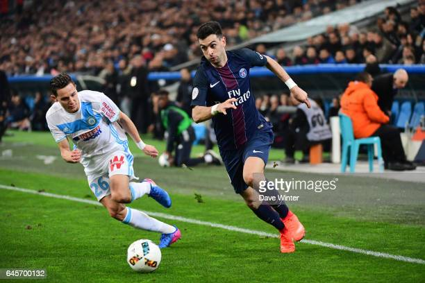 Javier Pastore of PSG and Florian Thauvin of Marseille during the French Ligue 1 match Marseille and Paris Saint Germain at Stade Velodrome on...