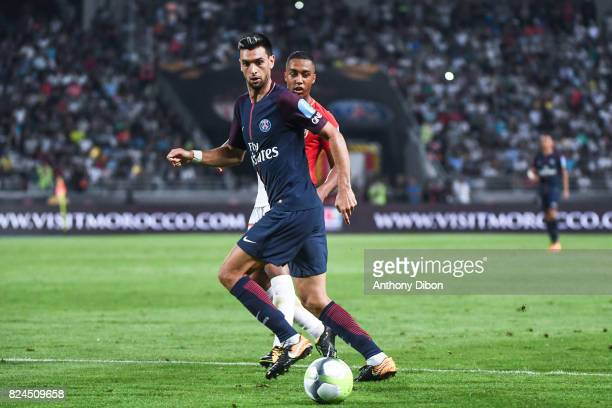 Javier Pastore of PSG and Youri Tielemans of Monaco during the Champions Trophy match between Monaco and Paris Saint Germain at Stade IbnBatouta on...
