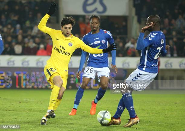 Javier Pastore of PSG Bakary Kone and Ernest Seka of Strasbourg during the French Ligue 1 match between RC Strasbourg Alsace and Paris Saint Germain...
