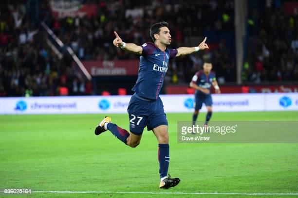 Javier Pastore of PSG celebrates after putting his side 42 ahead during the Ligue 1 match between Paris Saint Germain and Toulouse at Parc des...