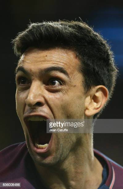 Javier Pastore of PSG celebrates his goal during the French Ligue 1 match between Paris Saint Germain and Toulouse FC at Parc des Princes on August...