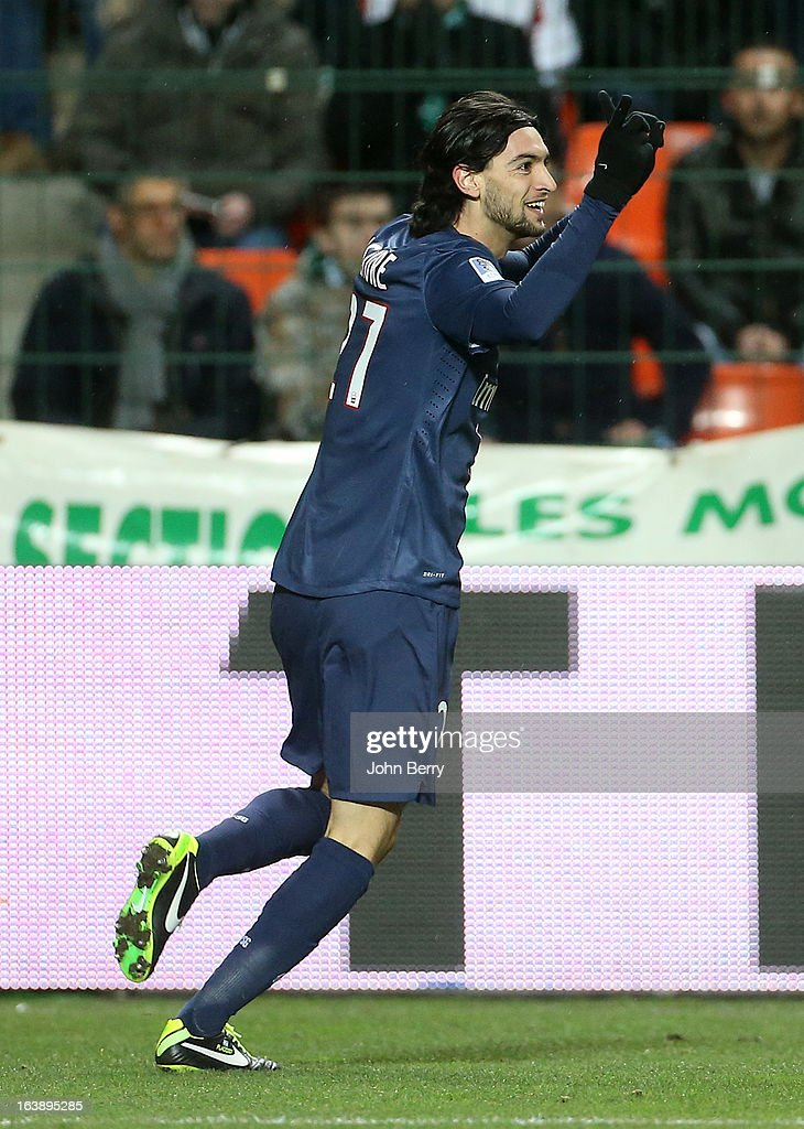 Javier Pastore of PSG celebrates his goal during the Ligue 1 match between AS Saint-Etienne ASSE and Paris Saint-Germain FC at the Stade Geoffroy-Guichard on March 17, 2013 in Saint-Etienne, France.