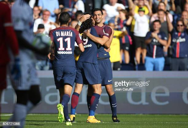 Javier Pastore of PSG celebrates his goal with Edinson Cavani during the French Ligue 1 match between Paris Saint Germain and Amiens SC at Parc des...