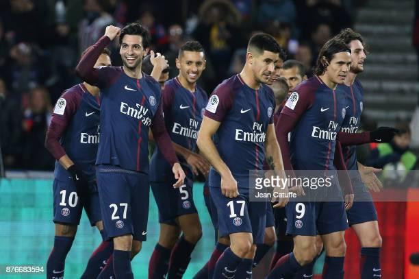 Javier Pastore of PSG celebrates his goal with Marquinhos Edinson Cavani Yuri Berchiche Adrien Rabiot during the French Ligue 1 match between Paris...