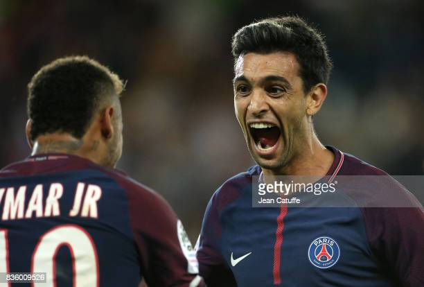 Javier Pastore of PSG celebrates his goal with Neymar Jr during the French Ligue 1 match between Paris Saint Germain and Toulouse FC at Parc des...