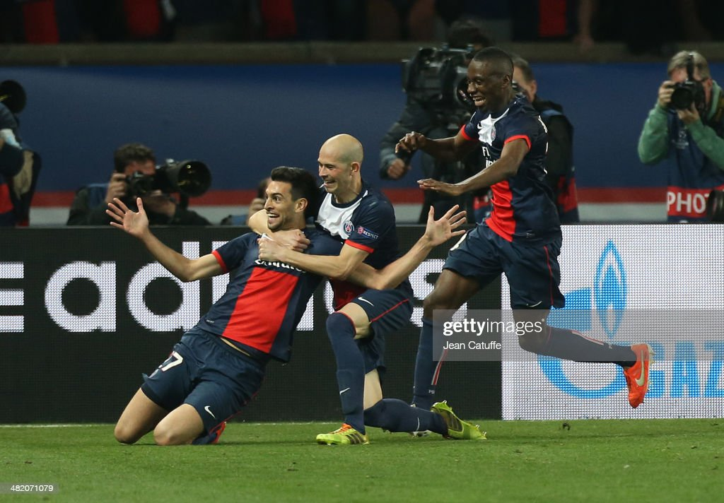 Javier Pastore of PSG celebrates his goal with teammates Christophe Jallet and Blaise Matuidi during the UEFA Champions League quarter final match between Paris Saint-Germain FC and Chelsea FC at Parc des Princes stadium on April 2, 2014 in Paris, France.