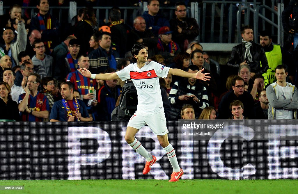 <a gi-track='captionPersonalityLinkClicked' href=/galleries/search?phrase=Javier+Pastore&family=editorial&specificpeople=5857872 ng-click='$event.stopPropagation()'>Javier Pastore</a> of PSG celebrates scoring the first goal during the UEFA Champions League quarter-final second leg match between Barcelona and Paris St Germain at Nou Camp on April 10, 2013 in Barcelona, Spain.