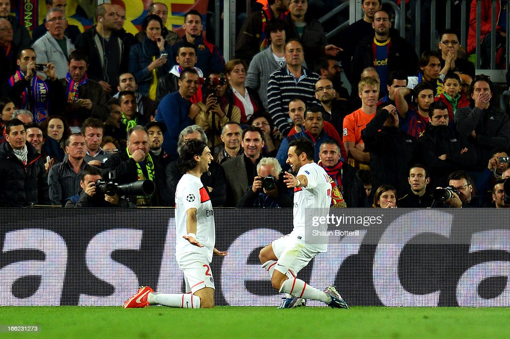 Javier Pastore of PSG celebrates scoring the first goal with Ezequiel Lavezzi of PSG during the UEFA Champions League quarterfinal second leg match...