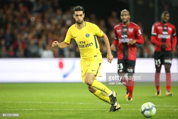 Javier Pastore of PSG during the French Ligue 1 match between En Avant Guingamp and Paris Saint Germain at Stade de Roudourou on August 13 2017 in...