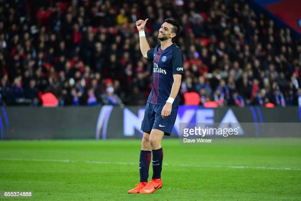 Javier Pastore of PSG during the French Ligue 1 match between Paris Saint Germain and Lyon at Parc des Princes on March 19 2017 in Paris France