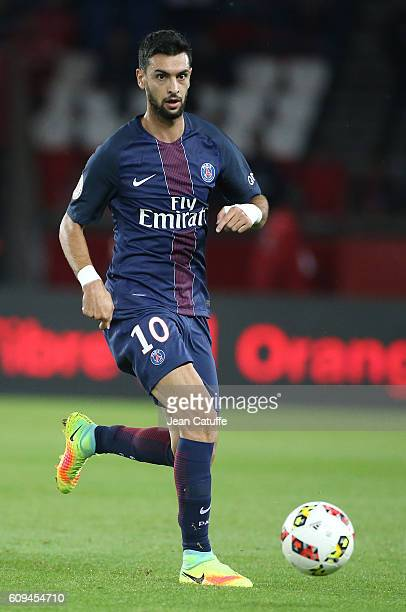 Javier Pastore of PSG in action during the French Ligue 1 football match between Paris SaintGermain and Dijon FCO at Parc des Princes on September 20...