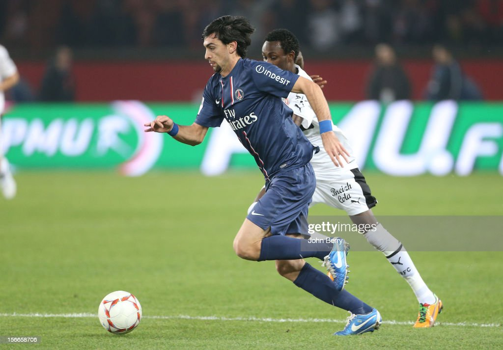 <a gi-track='captionPersonalityLinkClicked' href=/galleries/search?phrase=Javier+Pastore&family=editorial&specificpeople=5857872 ng-click='$event.stopPropagation()'>Javier Pastore</a> of PSG in action during the french Ligue 1 match between Paris Saint Germain FC and Stade Rennais FC at the Parc des Princes stadium on November 17, 2012 in Paris, France.