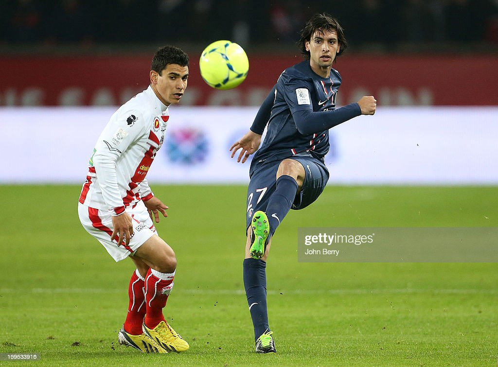 <a gi-track='captionPersonalityLinkClicked' href=/galleries/search?phrase=Javier+Pastore&family=editorial&specificpeople=5857872 ng-click='$event.stopPropagation()'>Javier Pastore</a> of PSG in action during the French Ligue 1 match between Paris Saint Germain FC and AC Ajaccio at the Parc des Princes stadium on January 11, 2013 in Paris, France.