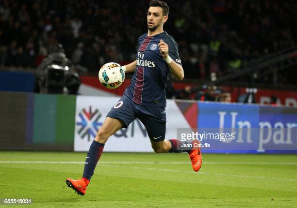 Javier Pastore of PSG in action during the French Ligue 1 match between Paris SaintGermain and Olympique Lyonnais at Parc des Princes stadium on...