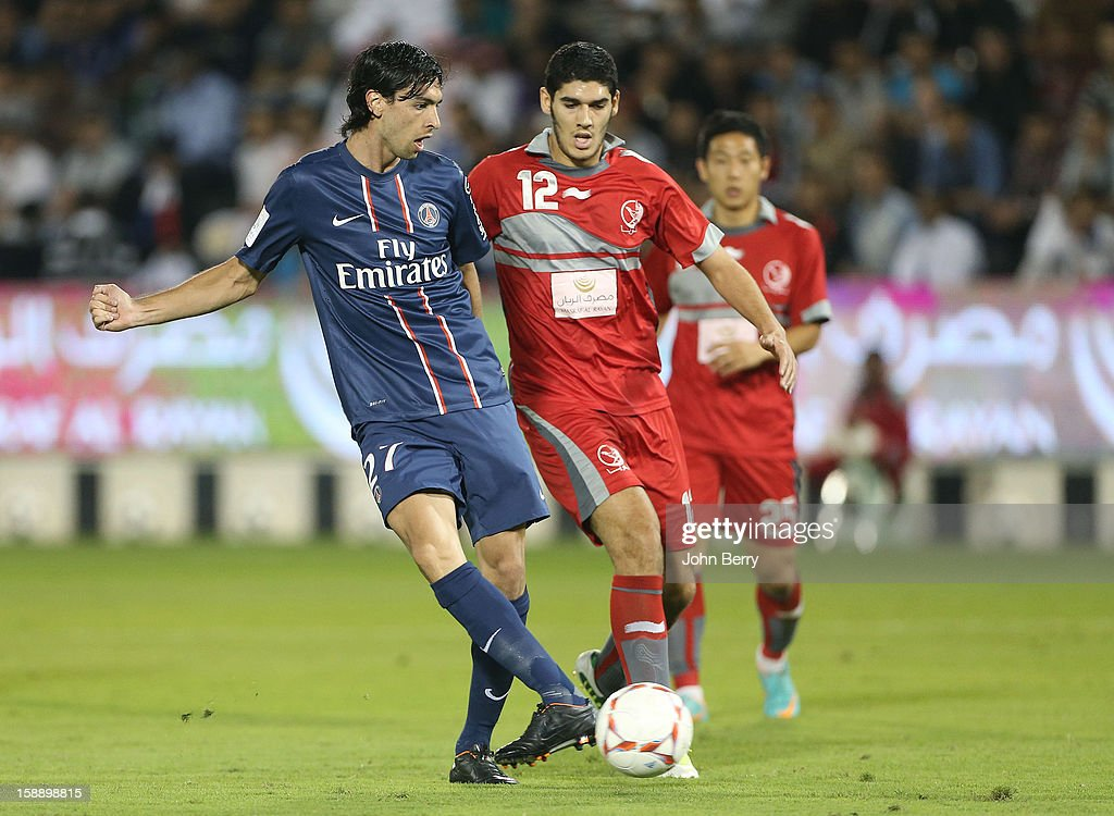 <a gi-track='captionPersonalityLinkClicked' href=/galleries/search?phrase=Javier+Pastore&family=editorial&specificpeople=5857872 ng-click='$event.stopPropagation()'>Javier Pastore</a> of PSG in action during the friendly match between Paris Saint-Germain FC and Lekhwiya Sports Club at the Al-Sadd Sports Club stadium on January 2, 2013 in Doha, Qatar.