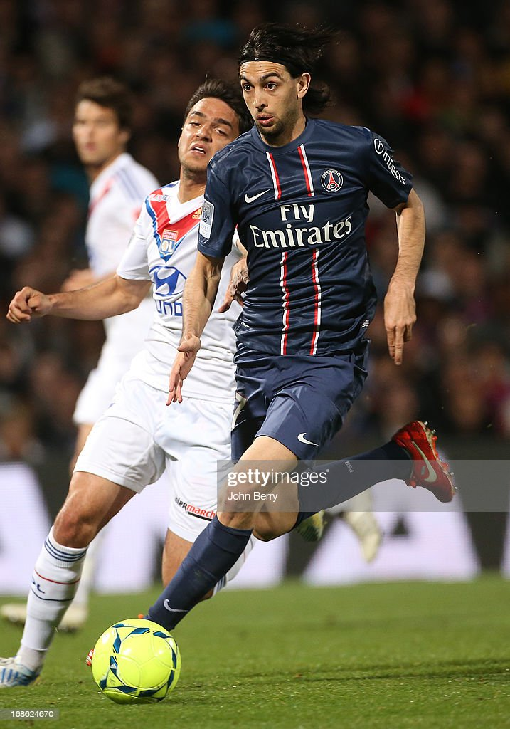 Javier Pastore of PSG in action during the Ligue 1 match between Olympique Lyonnais, OL, and Paris Saint-Germain FC, PSG, at the Stade Gerland on May 12, 2013 in Lyon, France.