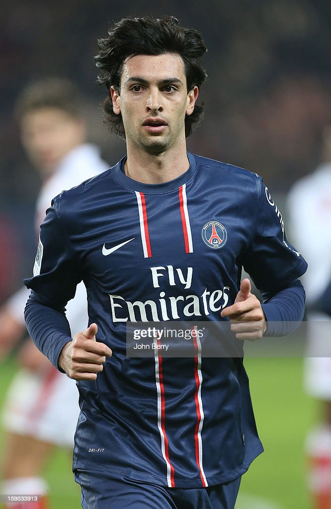 <a gi-track='captionPersonalityLinkClicked' href=/galleries/search?phrase=Javier+Pastore&family=editorial&specificpeople=5857872 ng-click='$event.stopPropagation()'>Javier Pastore</a> of PSG looks on during the French Ligue 1 match between Paris Saint Germain FC and AC Ajaccio at the Parc des Princes stadium on January 11, 2013 in Paris, France.