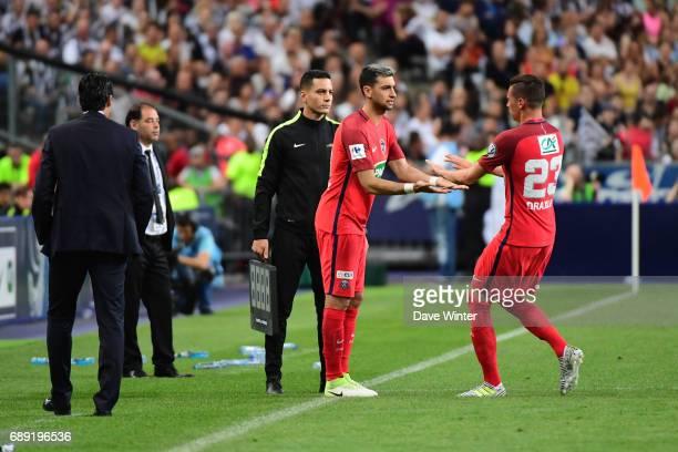 Javier Pastore of PSG replaces Julian Draxler of PSG during the National Cup Final match between Angers SCO and Paris Saint Germain PSG at Stade de...