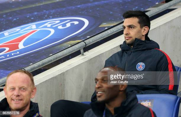 Javier Pastore of PSG seats on the bench during the French League Cup final between Paris SaintGermain and AS Monaco at Parc OL on April 1 2017 in...