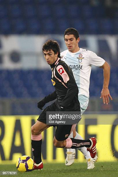 Javier Pastore of US citta' di Palermo and Alexander Kolarov of SS lazio in action during the Tim Cup between Lazio and Palermo at Olimpico Stadium...