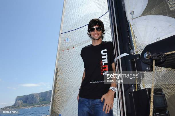 Javier Pastore player of US Citta di Palermo attends the unveiling of the Grand Soleil 42 Race ManLauria boat on August 17 2010 in Palermo ItalyThe...