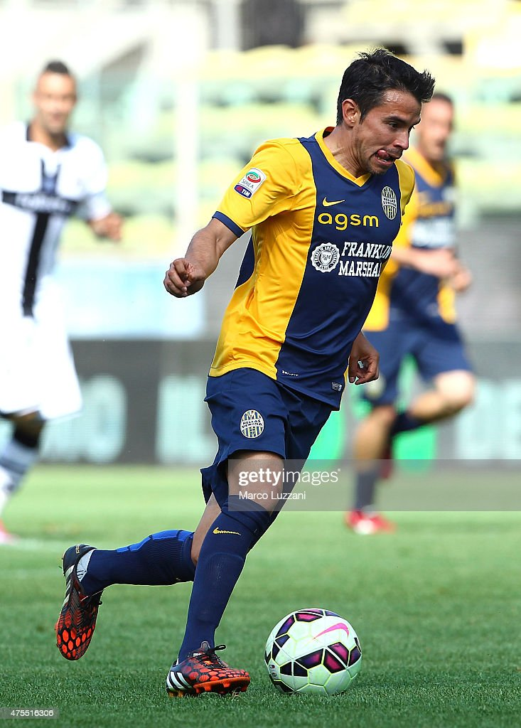 Javier Pedro Saviola of Hellas Verona FC in action during the Serie A match between Parma FC and Hellas Verona FC at Stadio Ennio Tardini on May 24, 2015 in Parma, Italy.