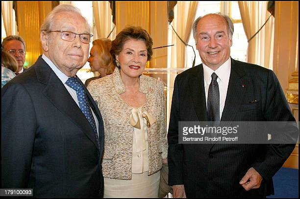 Javier Perez De Cuellar his wife and Prince Karim Aga Khan at Christine Albanel Presents The 'Grand Patron' And 'Grand Donor' Award To His Highness...