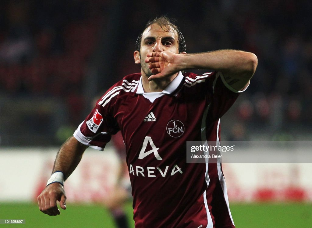 Javier Pinola of Nuernberg celebrates his goal during the Bundesliga first league match between 1 FC Nuernberg and VfB Stuttgart at Easy Credit...