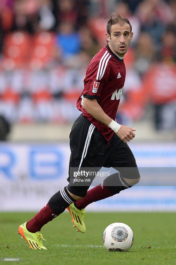 Javier Pinola of Nuernberg controls the ball during the Bundesliga match between 1 FC Nuernberg and Bayer Leverkusen at Grundig Stadium on April 20...