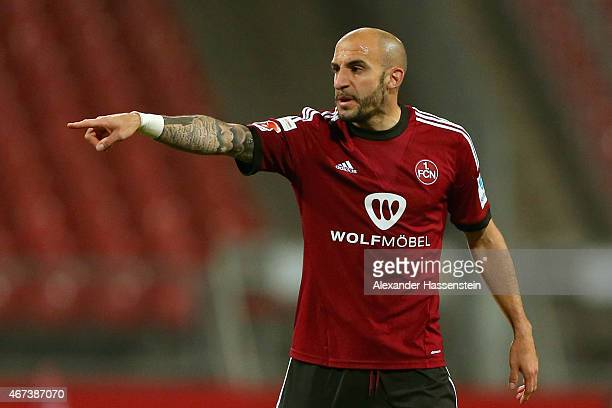 Javier Pinola of Nuernberg reacts during the Second Bundesliga match between 1 FC Nuernberg and VfL Bochum at GrundigStadion on March 23 2015 in...